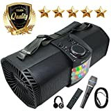 EMB Bluetooth Boombox Street Disco Stereo Speaker - 3600mAH Rechargeable Battery Portable Wireless 300 Watts Power FM Radio/MP3 Player w/Remote and Disco Light w/EMB Microphone & Headphone (Black)