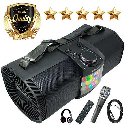 EMB Bluetooth Boombox Street Disco Stereo Speaker - 3600mAH Rechargeable Battery Portable Wireless 300 Watts Power FM Radio/MP3 Player w/Remote and Disco Light w/EMB Microphone & Headphone (Black) by EMB Professional