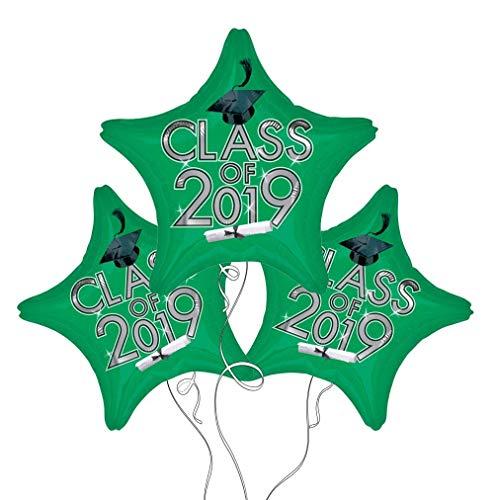Graduation Cap Class of 2019 Star Mylar Balloons 3 Pack (Green) -