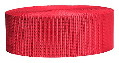 "Strapworks Lightweight Polypropylene Webbing 2"" by 50 Yd, Red, 2"" x 50 Yd"