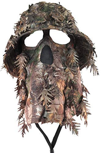 QuikCamo Realtree Xtra Camouflage 3D Leafy Bucket Hat Hunting Face Mask Combination (Sm/Med, 57-58cm)