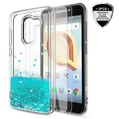 T-Mobile REVVL Case (Not Fit REVVL Plus), Alcatel A30 Fierce/ A30 Plus Case with HD Screen Protector, LeYi Glitter Bling Liquid Girls Women Protective Case for Alcatel Walters 2017 (5.5) ZX Turquoise