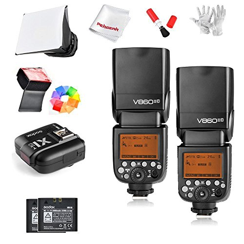 2Pcs Godox Ving V860IIC 2.4G GN60 E-TTL HSS 1/8000s Li-on Battery Camera Flash Speedlite 1.5S Recycle Time 650 Ful Power Pops Supports TTL/M/Multi/S1/S2 for Canon EOS Cameras by Godox