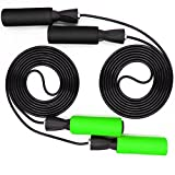 BenRan Jump Rope 2-Pack Adjustable Skipping Rope With Ball Bearings Best Exercise for Weight-Loss & Health (Black&Green)