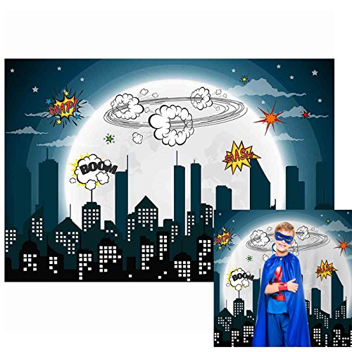 Allenjoy 7x5ft Polyester Background Photography City Night Superhero Birthday Party Baby Shower Children Party Hallowen Photography Backdrop Background for Studio -