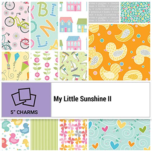 Benartex My Little Sunshine II Precut 5-inch Charm Pack Cotton Fabric Quilting Squares Assortment MLY5PK ()