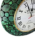 Sliced Logs Premium Wood Crafted Decorative Colorful Wall Clock With Numbed Matte Velvet Finish | Exclusive Wall Decor | Nagina International (Algae Green)