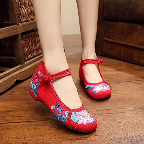 Bordado Zapatos Tendón Mujeres Cómodo En Rojo Aumento Estilo Mn El Zapatos Moda Suela Casual Gamuza Étnico De Hq5Hxd