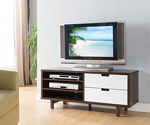 Smart home 161478 Entertainment Console TV Stand (47 Inch, Dark Walnut & Glossy ()