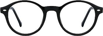 2b9d8878b27 TIJN Men Women Classic Round Blue Light Blocking Non-prescription Frosted Eyeglasses  Frame