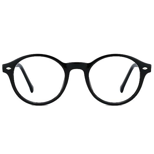 0d1829943a TIJN Men Women Classic Round Non-prescription Glasses Frosted Eyeglasses  Frame (black