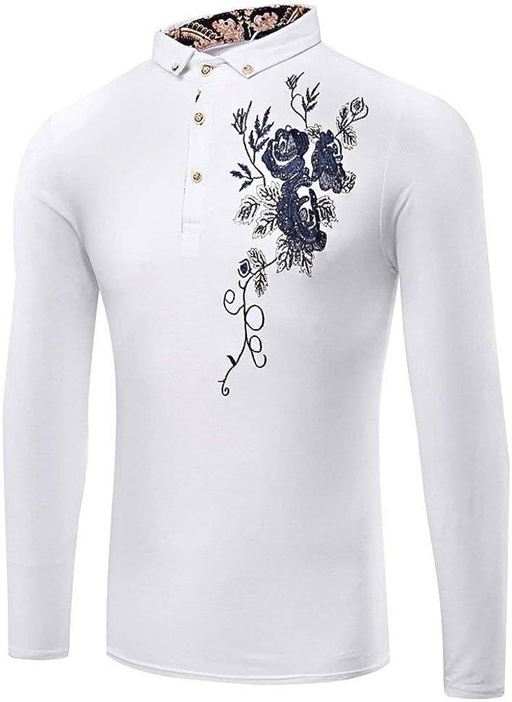 Camisa De Manga Larga para Hombre Casual Fit Básica Slim Urbana Camisetas Cómodo Moda Vintage Impresión Floral Blusas Tops (Color : Blanco, Size : M): Amazon.es: Ropa y accesorios
