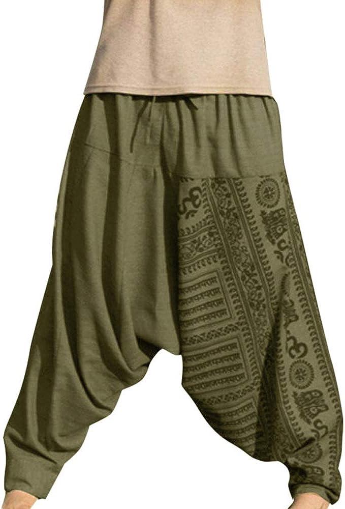 Shujin – Pantalones bombachos para hombre, para yoga, danza o playa, estilo retro