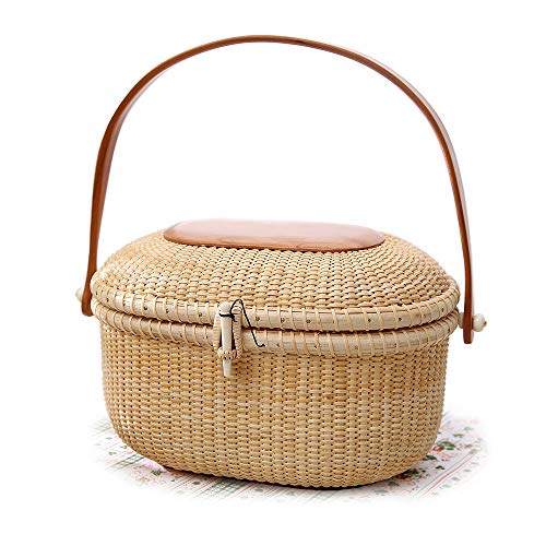 - Tengtian Shopping basket Tote bag Nantucket Picnic Rattan Basket for Storage Handmade Style