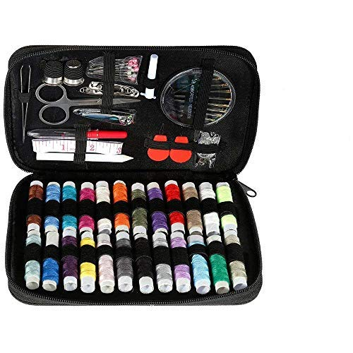 90/128/134Pcs Premium Sewing Supplies, Portable Mini Sew Kits for Traveler, Adults, Beginner, Emergency - Filled with Mending Sewing Needles, Scissors, Thimble, Thread,Tape Measure (90pcs)
