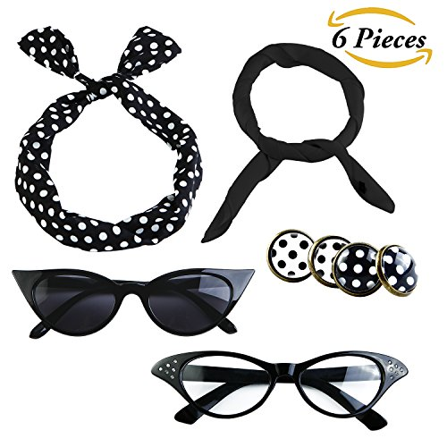 Aneco 6 Pack 50s Set Chiffon Scarf Cat Eye Glasses Bandana Tie Headband Earrings (Black) (Poodle Tie)