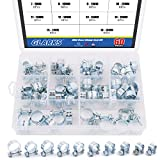 Glarks 60Pcs 10 Size Mini Fuel Injection Style Hose Clamp Assortment Kit For Diesel Petrol Pipe
