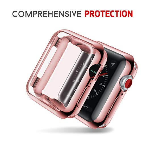 Smiling Apple Watch 4 Case with Buit in TPU Screen Protector 44mm- All Around Protective Case High Definition Clear Ultra-Thin Cover Apple iwatch 44mm Series 4(Rose, 44mm)