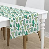Table Runner - Cactus Botanical Cacti Succulents Southwest Desert Western by Caja Design - Cotton Sateen Table Runner 16 x 108