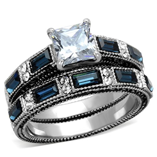Wedding Antique Sets (Lanyjewelry 1 Carat Princess Cut CZ/Deep Blue CZ Women's Stainless Steel Wedding Ring Set- Size 9)