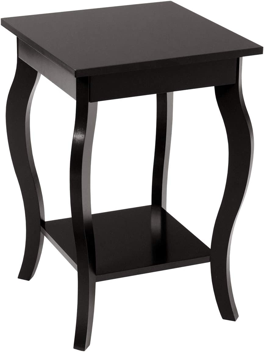 """Giantex End Table 16"""" W/Storage & Shelf Curved Legs Home Furniture for Living Room Accent Sofa Side Table Nightstand (1, Dark Coffee)"""