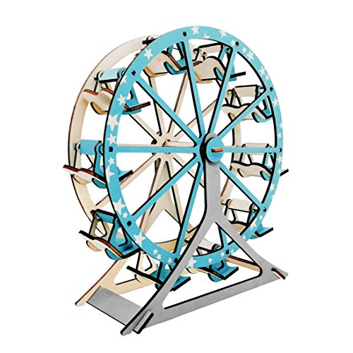 DIY Wooden Creative Model Toy Kits 3D Jigsaw Puzzles Laser-Cut Natural Wood Ferris Wheel Model (Wheel Toy Ferris)