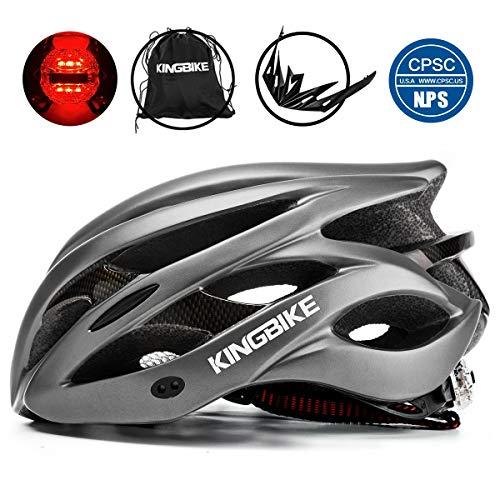 KINGBIKE Ultralight Specialized Bike Helmets CPSC&CE Certified with Rear Light + Portable Simple Backpack + Detachable Visor for Men Women(M/L,L/XL) (Titanium, L/XL(59-63CM))
