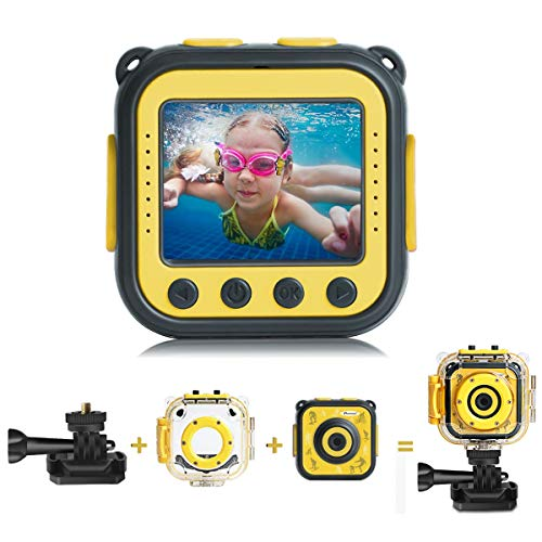 PROGRACE [Upgraded] Kids Camera Waterproof Action Video Digital Camera 1080 HD Camcorder for Boys Girls Toys Gifts Build-in Game(Yellow)