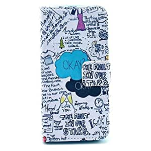 """WQQ """"OKAY"""" Words Scrawl Pattern PU Leather Full Body Case for iPhone 4/4S"""