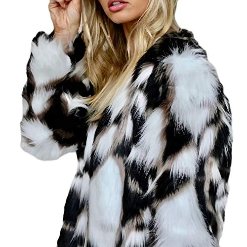 MIRRAY Womens Ladies Coats Autumn Winter Warm Thick Long Sleeve Fashion Outwear Casual O-Neck Short Jackets Faux Fox Fur Parka Overcoat Open Front Cardigan Large Size Loose Outwear White