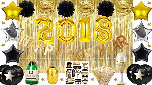 New Years Eve Graduation Prom Party Supplies 2018 Decorations Balloons Backdrop Garland Banner Black Gold Star Confetti Pom Poms Giant Champagne Glass Bottle Photobooth Props Kit