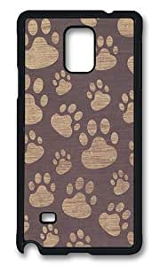 Samsung Galaxy Note 4 Case, Paw Prints Rugged Case Cover Protector for Samsung Galaxy Note 4 N9100 Polycarbonate Plastics Hard Case Black WANGJING JINDA