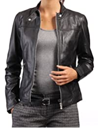 New Women Genuine Real Leather Jacket Ladies Slim Fit Biker Coat LTN548