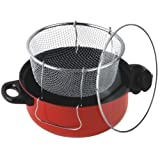 Gourmet Chef JL-5304R Non-Stick Deep Fryer with Frying Basket and Glass Cover, 6.5-Quart