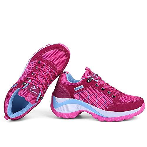 Schuhe Die Nicht Breathable Schuhen Wellen Schuhe Laufenden der Turnschuhe Ineinander zufällige Schuh Greifen mit Rosa erhöhen leichten Damen Beleg Frauen LIANGXIE FSqaS
