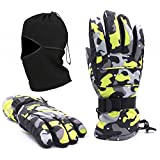 Waterproof Windproof Men's Winter Ski Snowboard Work Warm Insulated Gloves and Balaclava Best Full Face Mask,XL