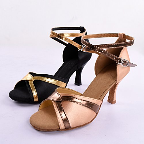 Satin Salsa Strap Women's Strap Latin Sandals Kevin Ballroom Ankle Ankle KV112 Black Wedding TSwTRqY