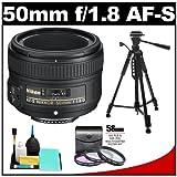 Nikon 50mm f/1.8 G AF-S Nikkor Lens with 3 (UV/FLD/CPL) Filter Set + Tripod + Accessory Kit for Digital SLR Cameras, Best Gadgets