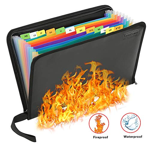 Fireproof File Folder Waterproof File Organizer,13 Pockets Fireproof Document Bag Filing Folder Document Organizer Briefcase,Non-Itchy Silicone Coated A4 Letter Size Money Organizer Pouch with Zipper (Important Papers)
