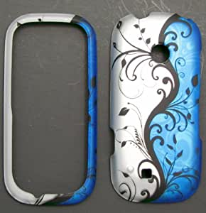 LG Cosmos2 Cosmos 2 vn251 Accessory - Blue / Silver Flower & Vine Design Protective Hard Case Cover for Verizon
