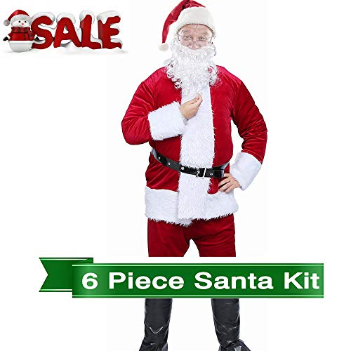 Christmas Deluxe Santa Suit Santa Claus Costume Velvet Santa Costume Set with Santa Hat Beard Belt for Boys and Men (Adult Burgundy Santa Suit 6pc)