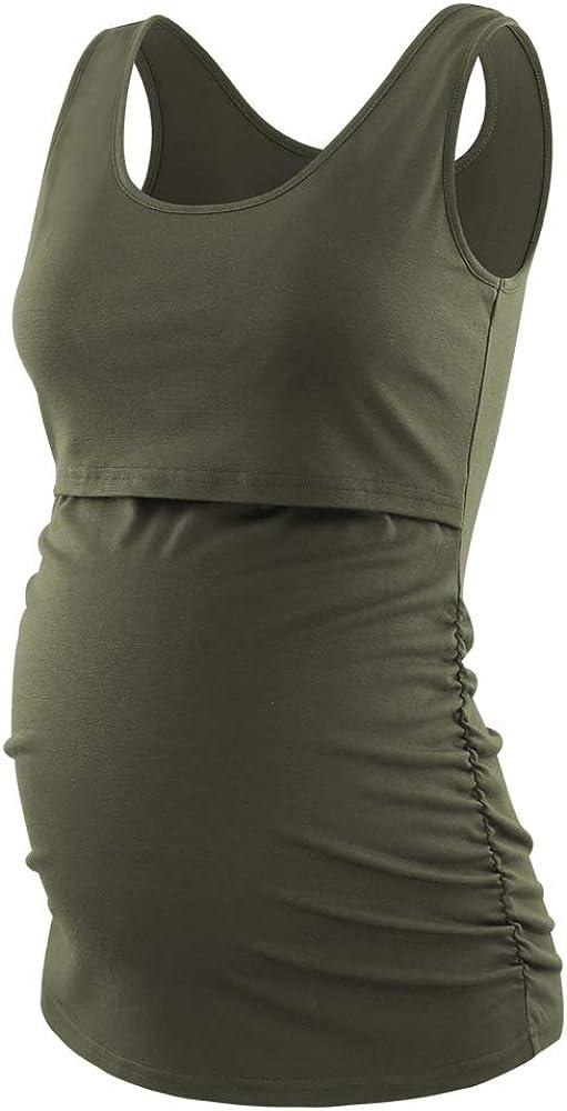 CareGabi Women/'s Maternity Nursing Tops Sleeveless Tank Round Neck Breastfeeding Cami Tops Maternity Clothes 3 Pack