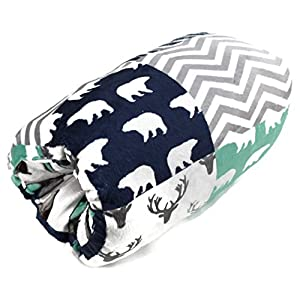Dear Baby Gear Deluxe Reversible Nursing Arm Pillow, Woodland Bear Quilt/Feathers Navy Mint