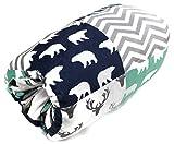 Dear Baby Gear Deluxe Reversible Nursing Arm Pillow, Woodland Bear Quilt/Feathers Navy Mint