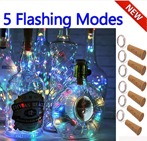 SFUN Wine Bottle Lights with Cork- 5 Dimmable Modes with Timer 6 Pack Battery Operated LED Silver Copper Wire Fairy String Lights for DIY, Party, Decor,Wedding