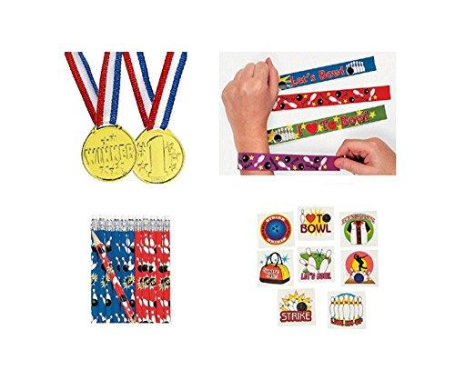 Nice Bowling Party Pack Kid's Favors 120 piece Bundle (12 Slap Bracelets, 72 Tattoos, 12 Gold Medals, 24 Pencils)