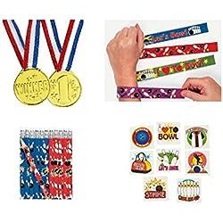 Bowling Party Pack Kid's Favors 120 piece Bundle (12 Slap Bracelets, 72 Tattoos, 12 Gold Medals, 24 Pencils)
