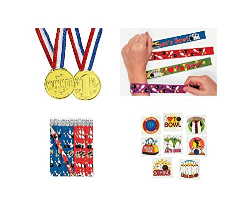 Bowling Party Pack Kid's Favors 120 piece Bundle (12 Slap Bracelets, 72 Tattoos, 12 Gold Medals, 24 Pencils)