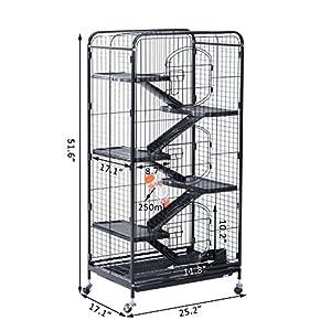 """NEW Black Large 52"""" Ferret Pet Cage Rat Rabbit Pen Play House w/ Wheels & 3-Door Metal"""