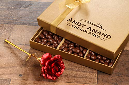 Andy Anand's Chocolate covered Almonds 1 lbs, Large 24K Gold Flower, Birthday, Valentine Day, Gourmet Christmas Holiday Food Gifts, Thanksgiving, Halloween, Mothers day, Get Well Basket, Unique ()